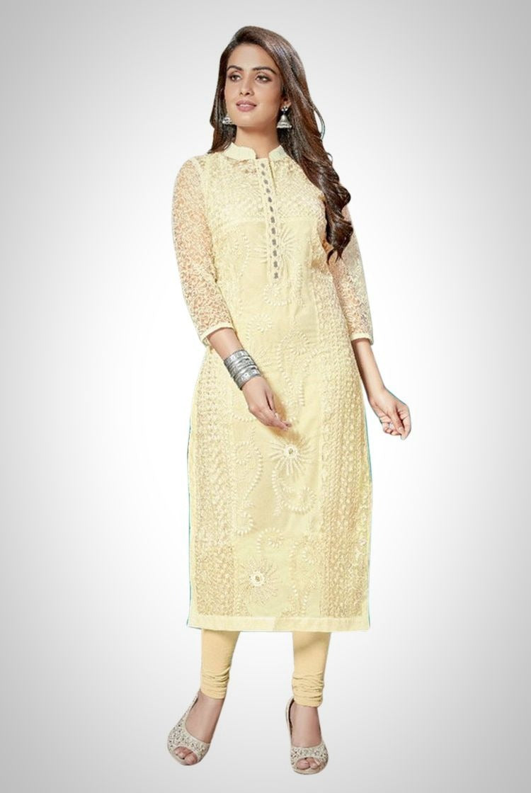 Cream Chikankari Kurti with inner & legging set