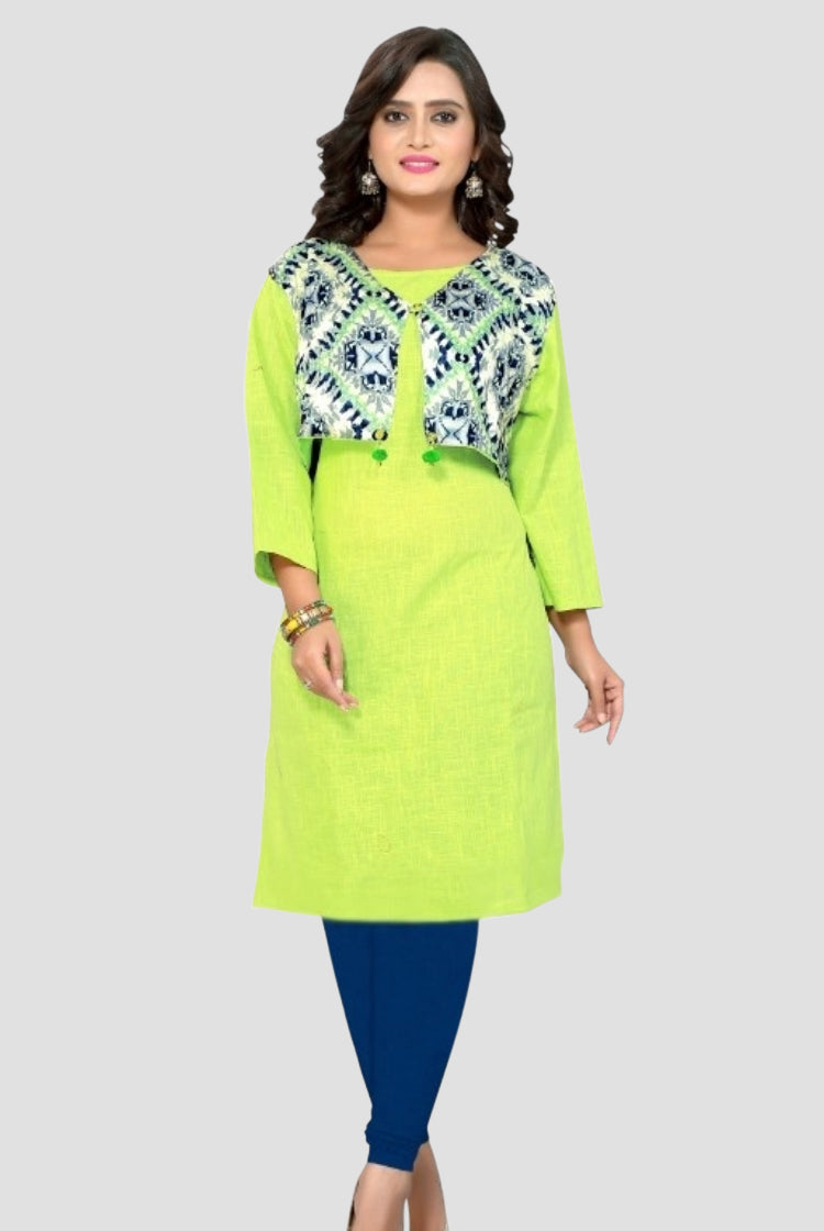 Lemon Green Kurti with jacket