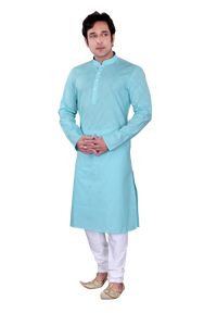Ethniz - Men's Kurta with Churidar - Turquoise