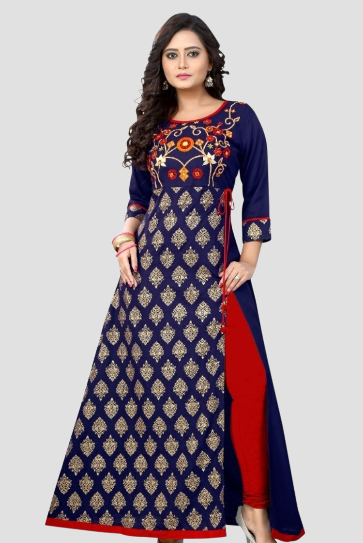 Blue Embroidery Long Kurti with Side Slit