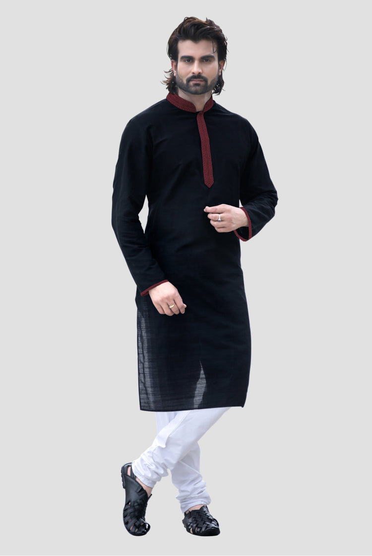 Men's Black Kurta with White Churidar