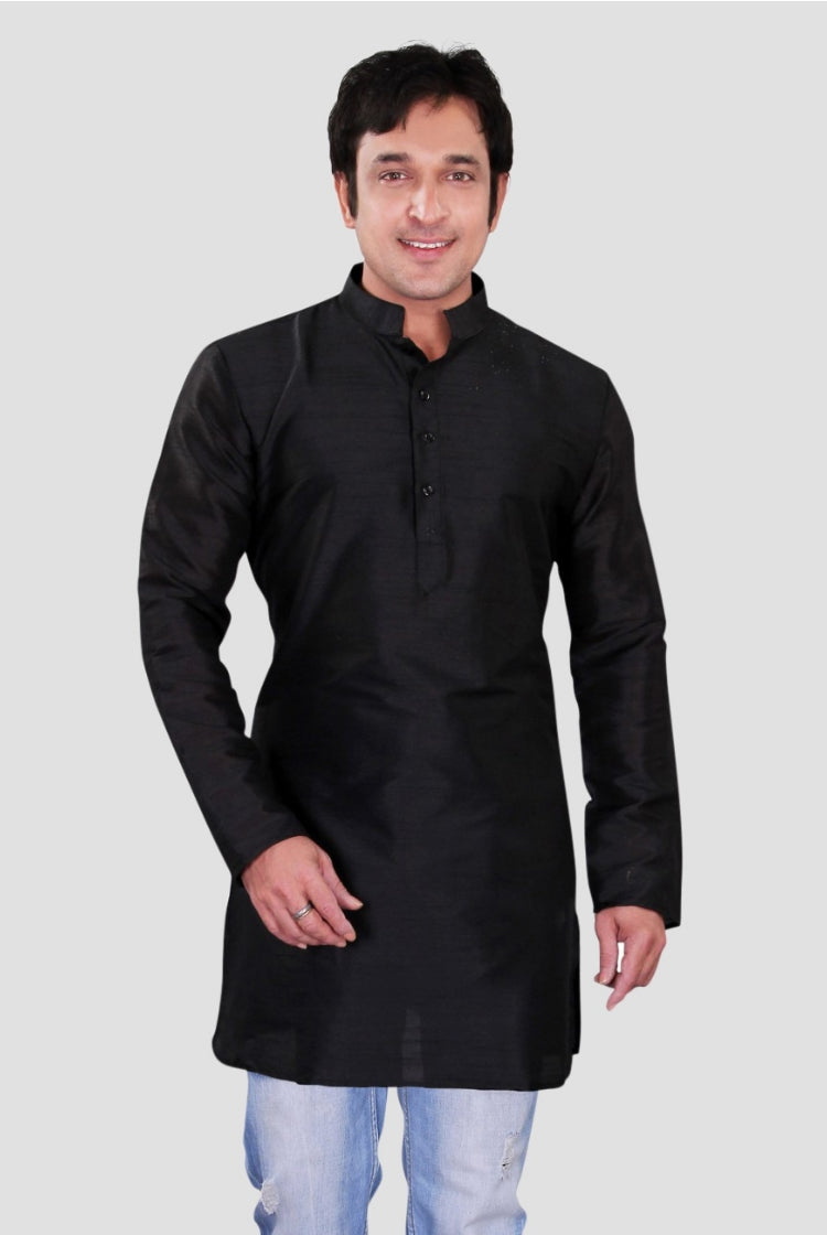 Ethniz-Men's Black Dupion Plain Silk Short Kurta