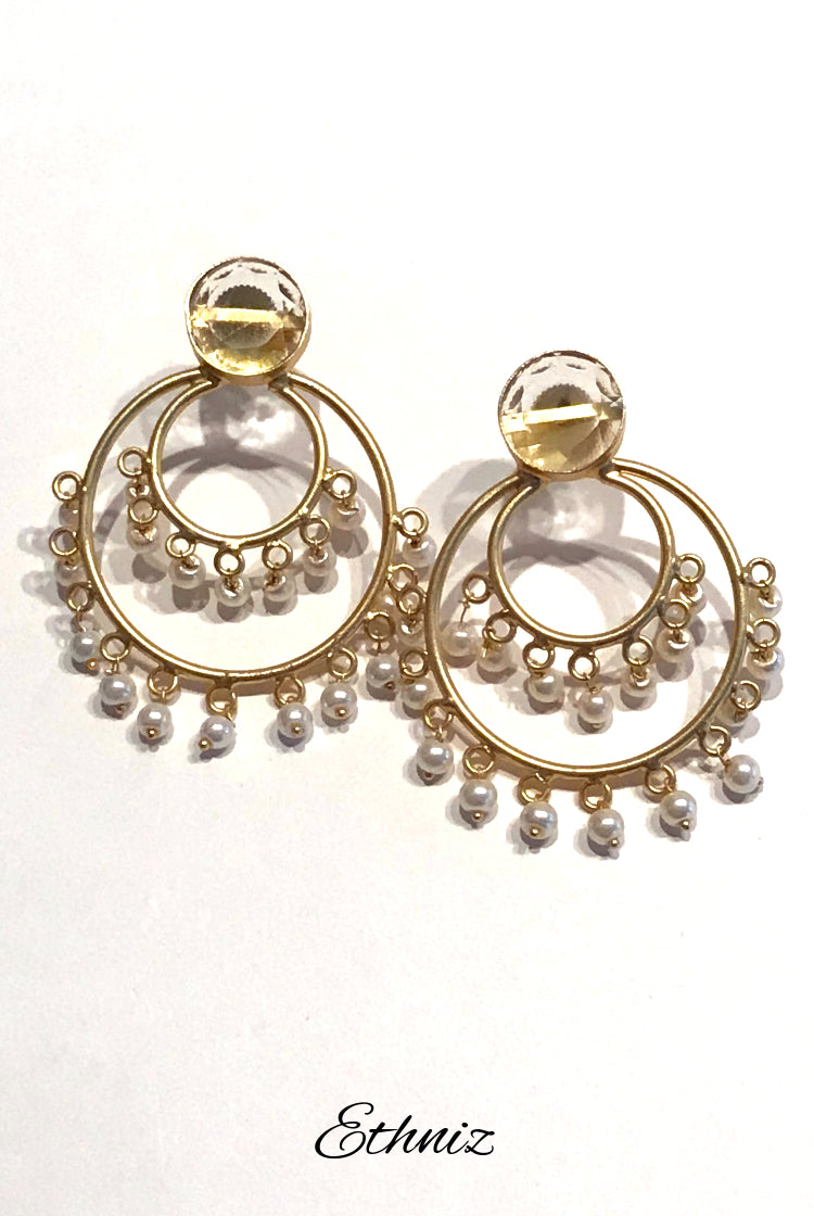 Metallic Round Earring with White pearls