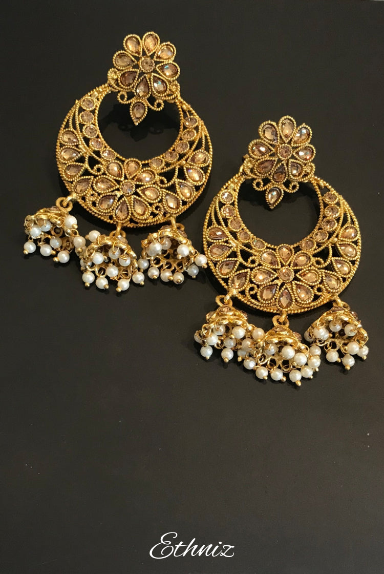 Gold Stone Earring with Flower shape and Hanging Jhumkis