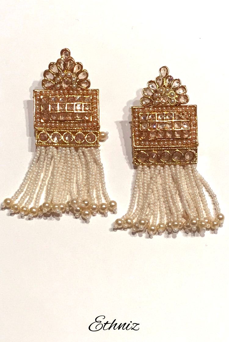 Hanging White beads earring