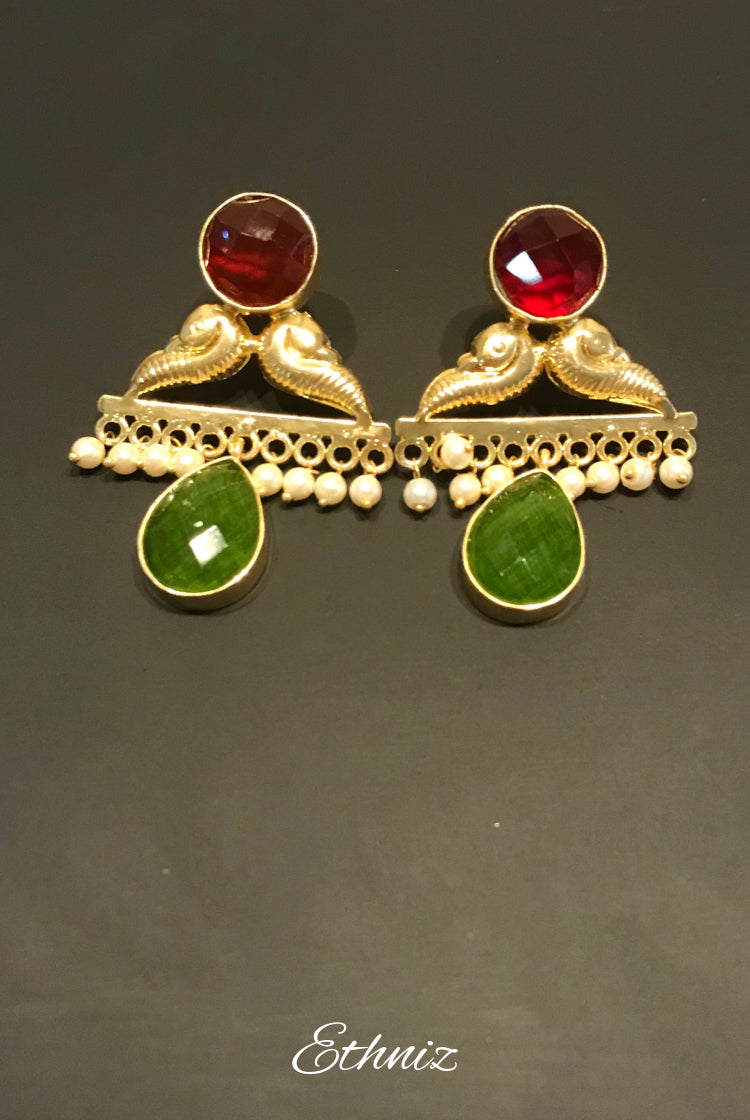 Green and Red Triangular Dangling Earring