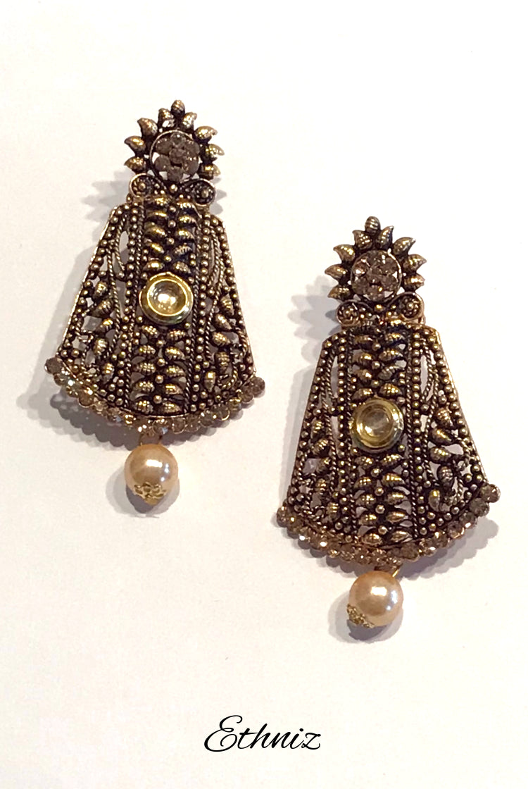 Long Bronze Metallic Earring