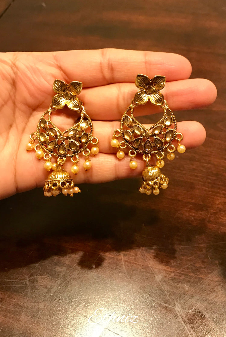 Lightweight Golden stone Earring with Jhumki