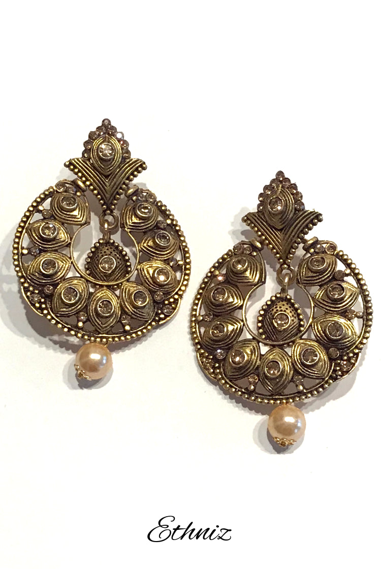 Bronze Metallic Round Earring