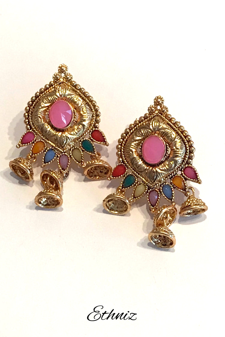 Small Metallic Earring with light Pink center stone and hanging jhumkis
