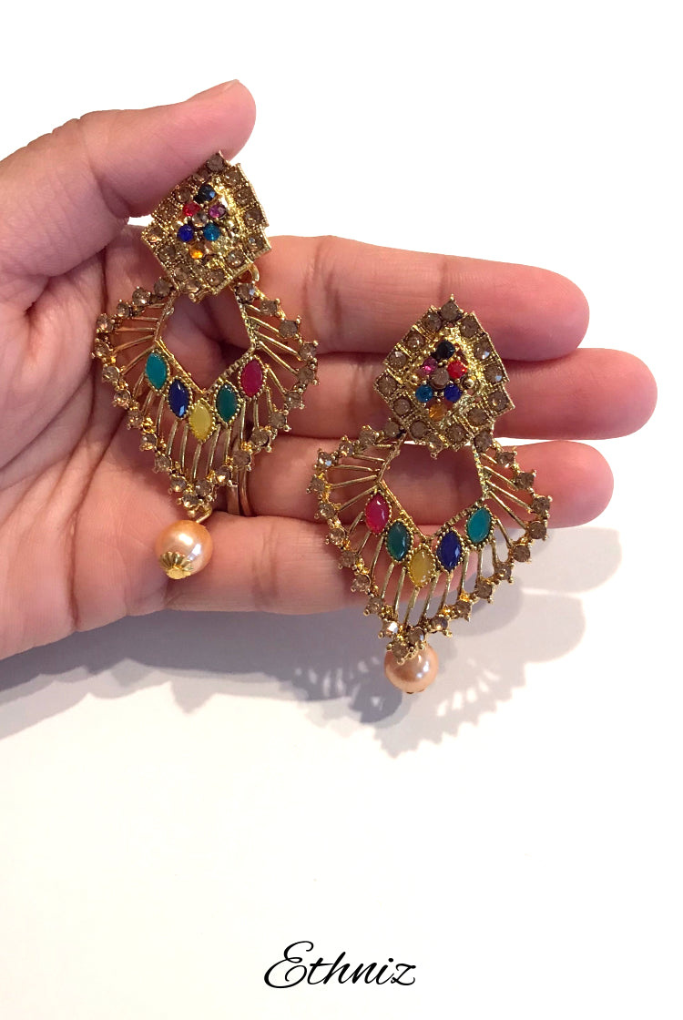 Dual Dimond Shape Bronze Metallic Earring with multicolor Stone work