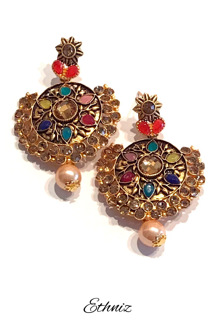 Multicolor stone work earring with nag