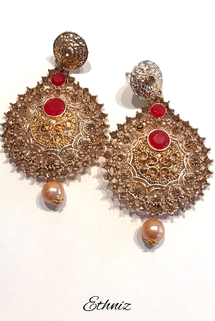 Metallic Flame style earring with Red Stone