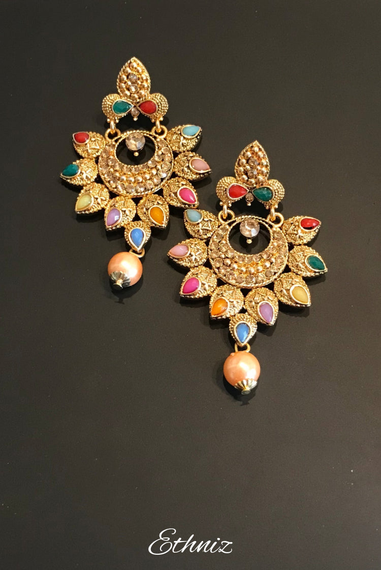 Multi Color Petal Design Earring