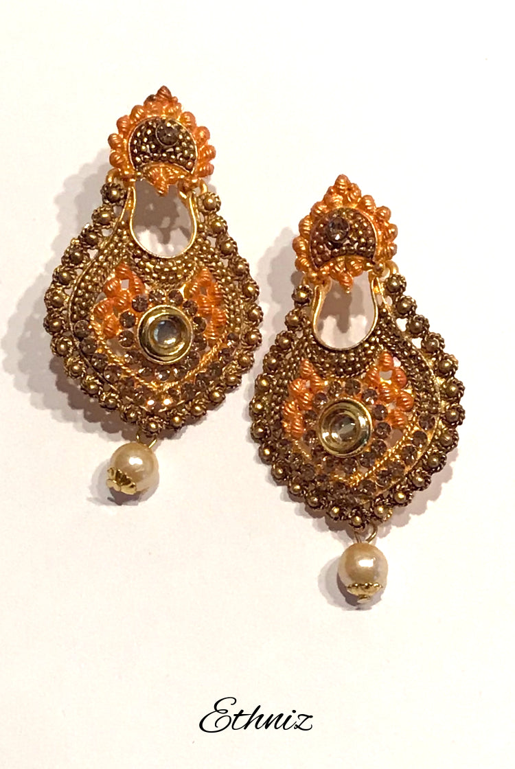 Bronze Earring with contrasting Orange color