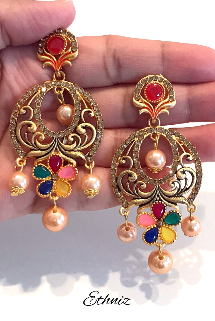 Bronze Metallic Earring with multicolor stones & Hanging pearls