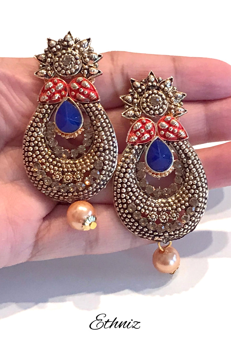 Metallic Earring with Henna Polish and Indigo Stone