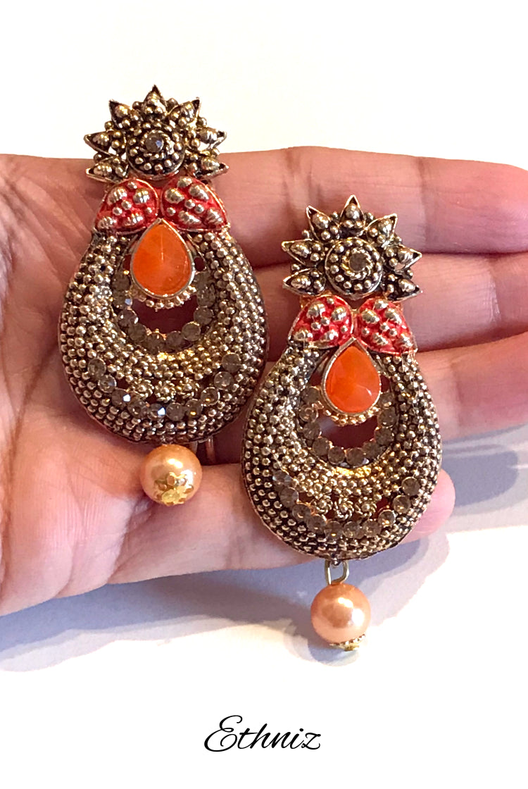 Metallic Earring with Orange center Stone