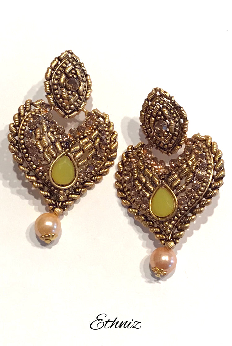 Bronze Metallic Earring with Green center Stone