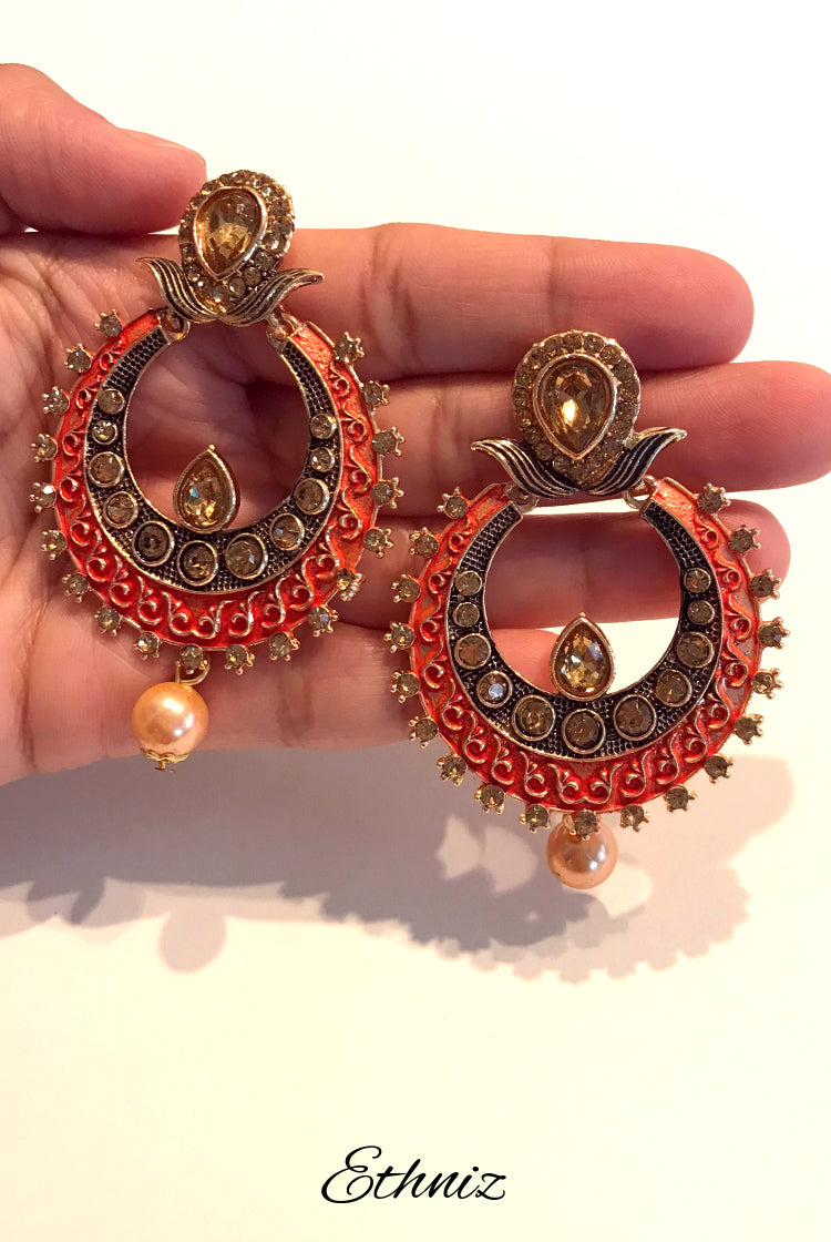 Bronze Metallic Earring with contrasting Orange edges