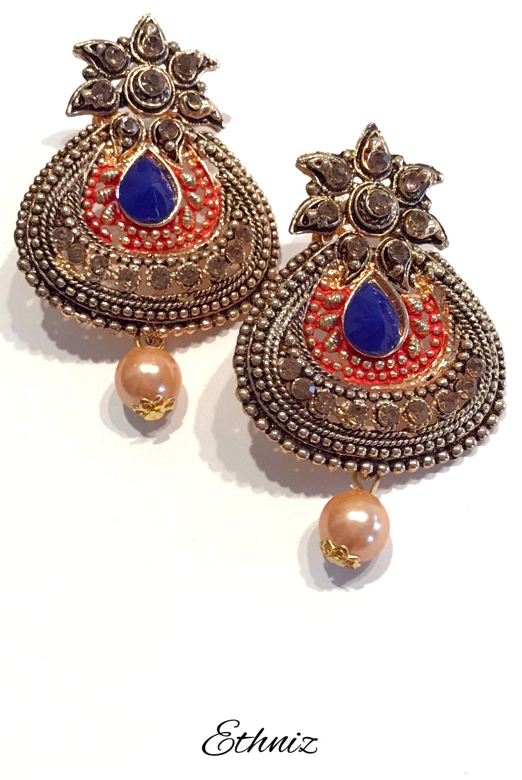 Henna Color polish metallic earring with Indigo Stone