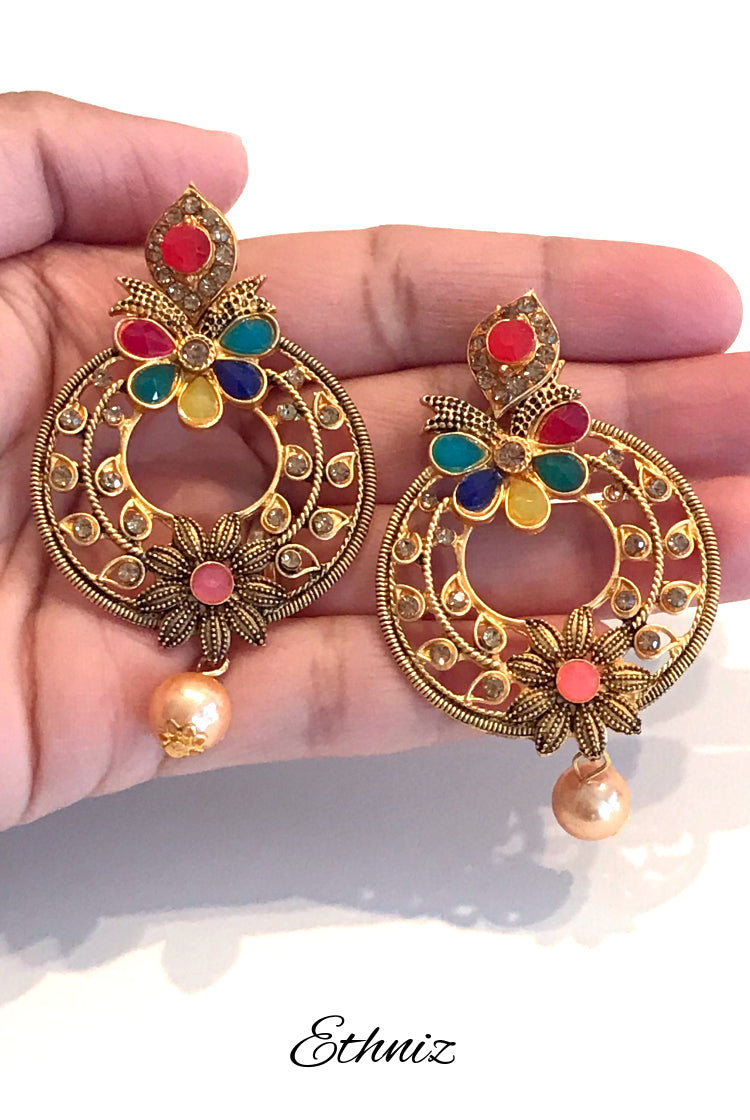 Bronze Metallic Earring with multicolor stones
