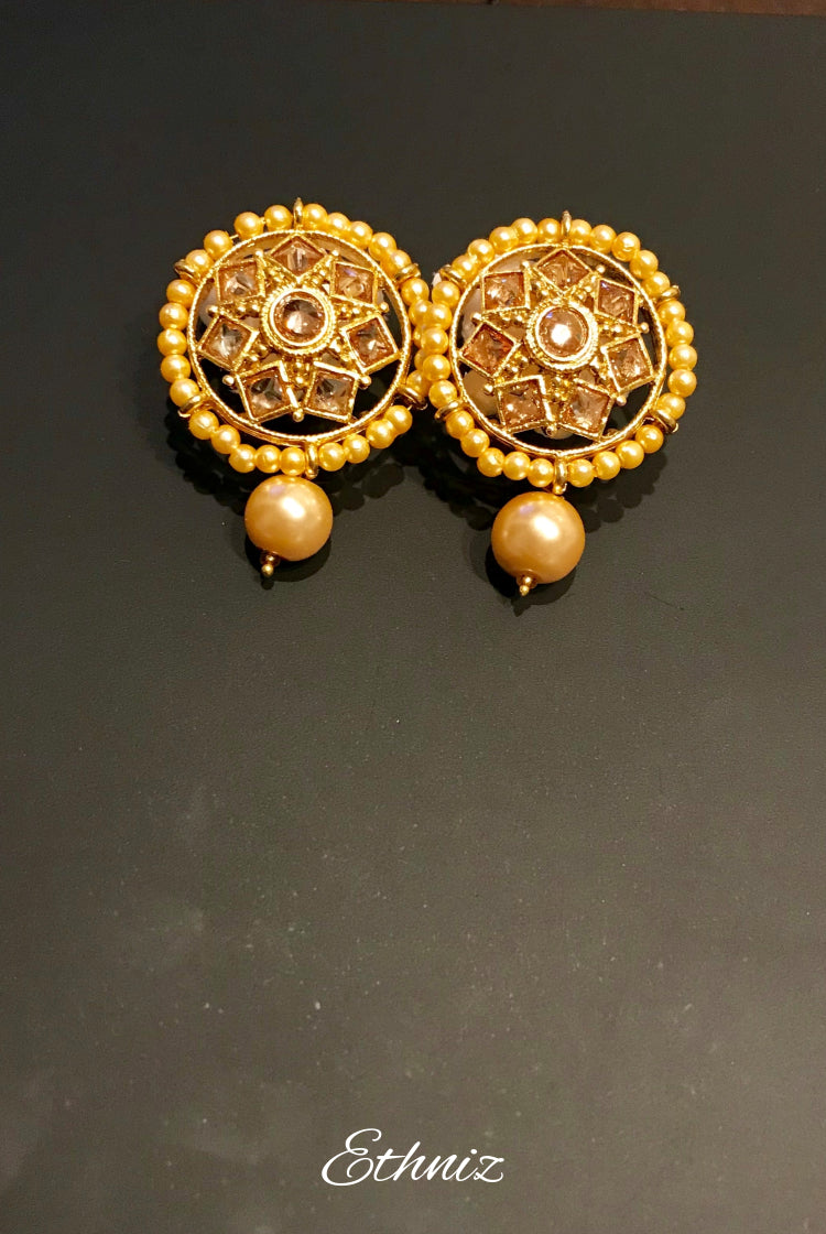 Round Designer Earring with hanging pearl