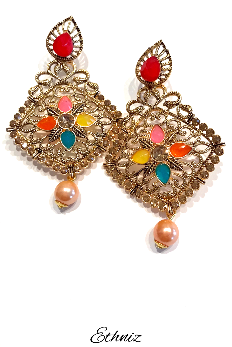 Metallic Bronze Earring with Multicolor stone
