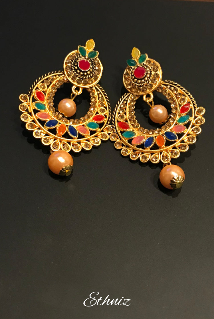 Multicolor Round Earring with Pearl