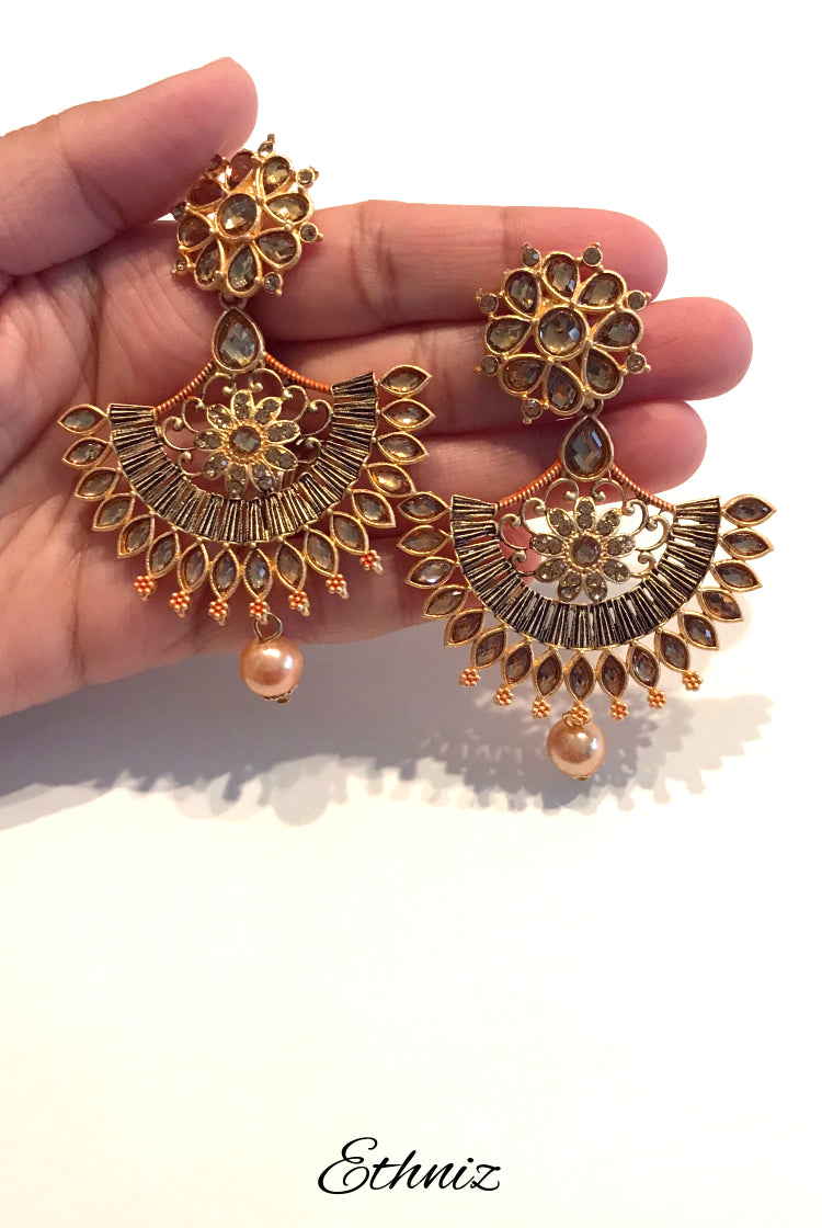 Metallic Bronze Earring with Rose Gold Stone in Diya Style