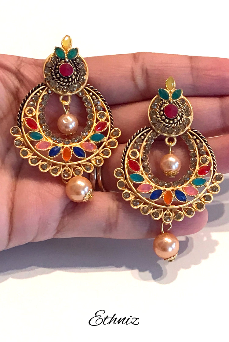 Small Multicolor stone Metallic Earring