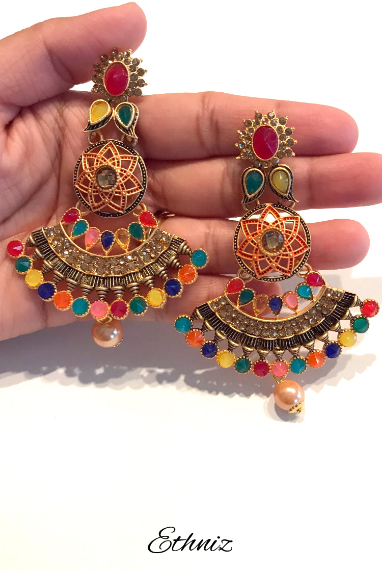 Multicolor stone work long earring