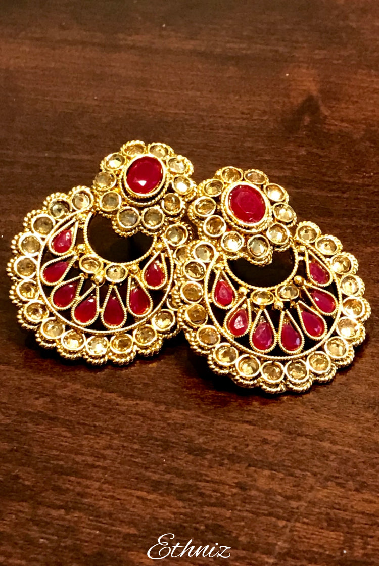Rose Gold stone Earring Red 003
