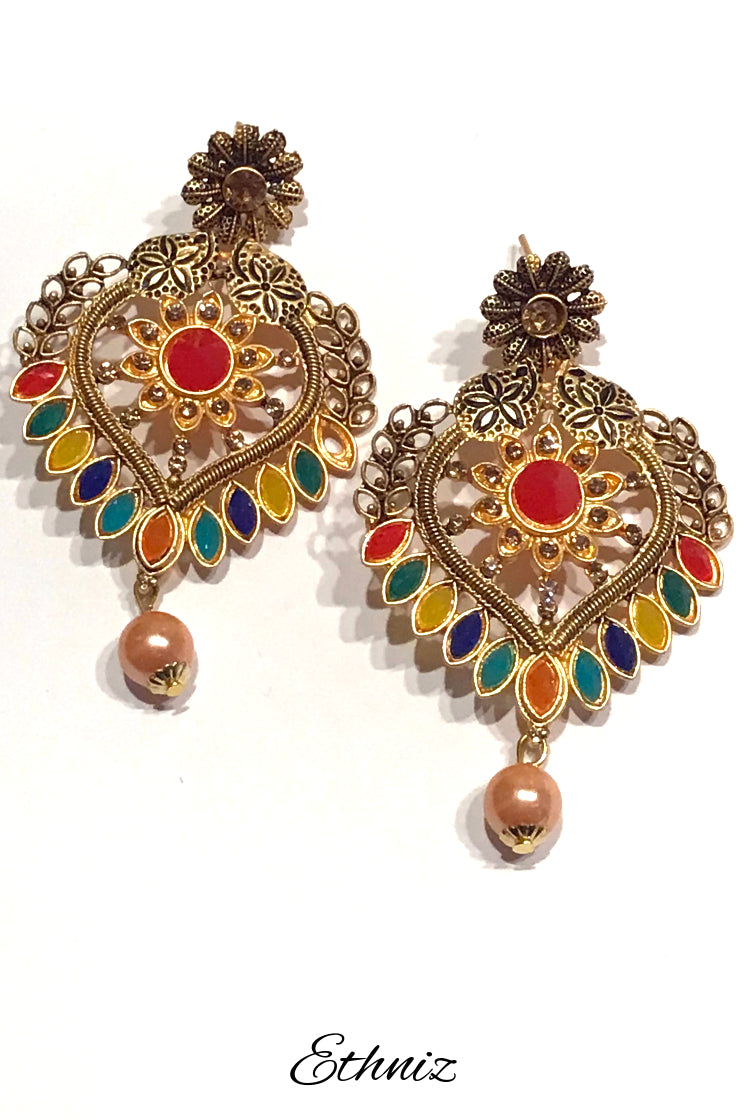 Heart Shaped Bronze Metallic Earring with multicolor stone