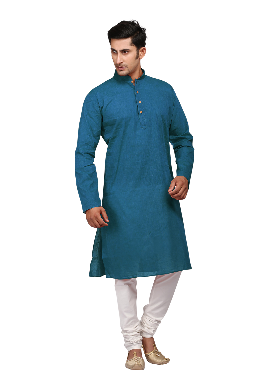 Ethniz - Men's Kurta with Churidar - Aegean Blue