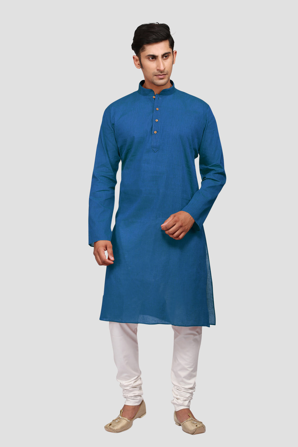 Ethniz - Men's Kurta with Churidar - True Blue