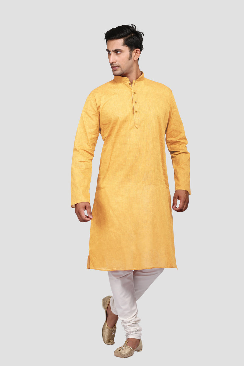Ethniz - Men's Kurta with Churidar - Mustard Yellow