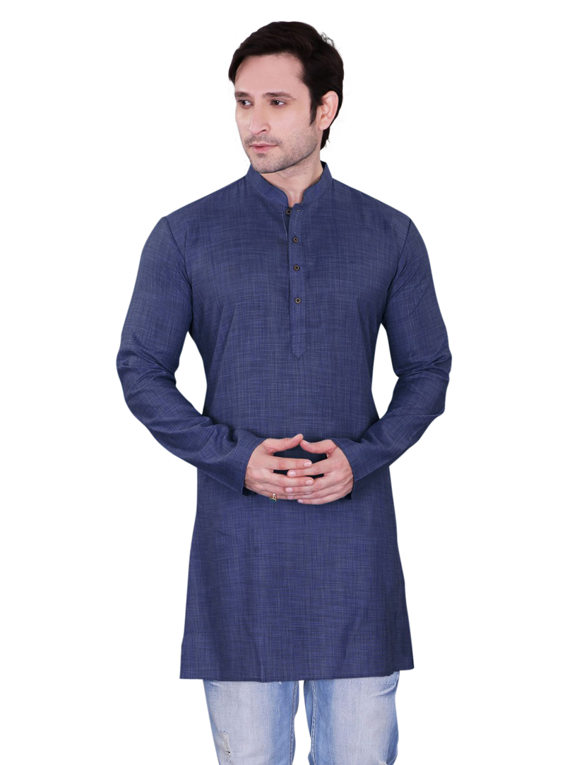 Ethniz - Men's Navy Blue Dupion Plain Short Kurta
