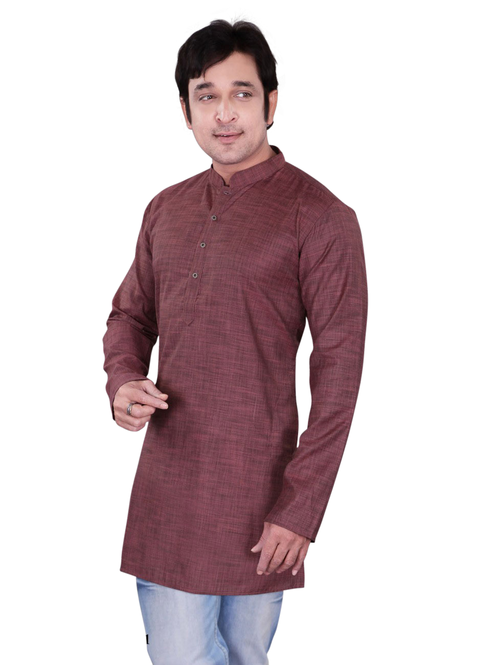 Ethniz- Men's Crimson Pink Dupion Plain Short Kurta