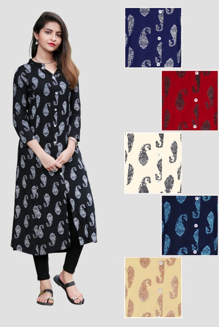 Cotton Blend traditional print Kurti - Black