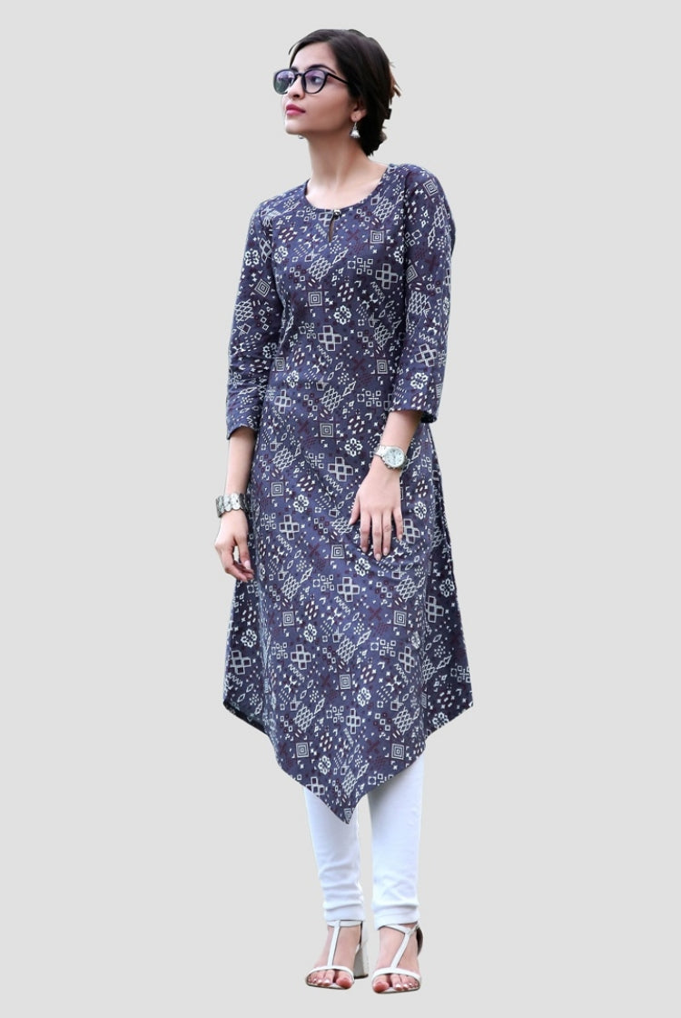 Blue Print Triangular cut Kurti