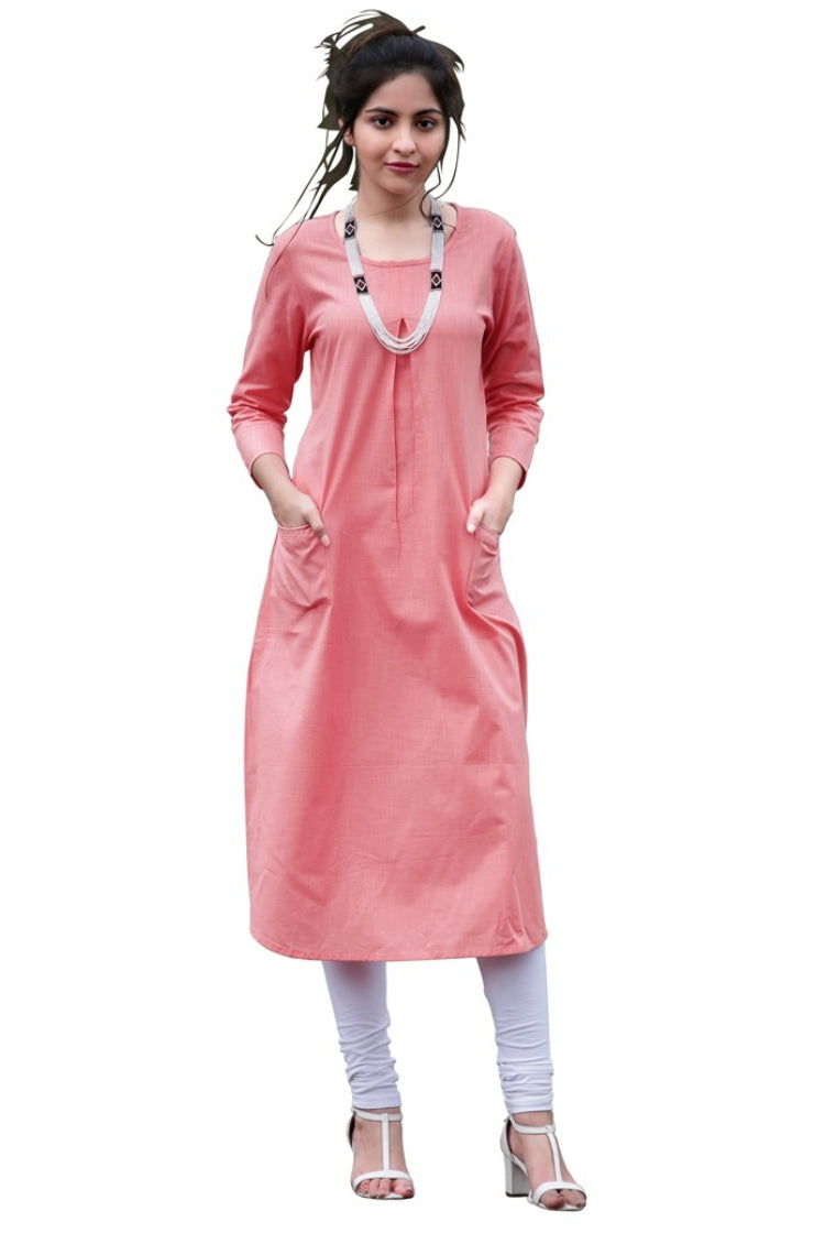 Long Pink Khadi Kurti with Pockets