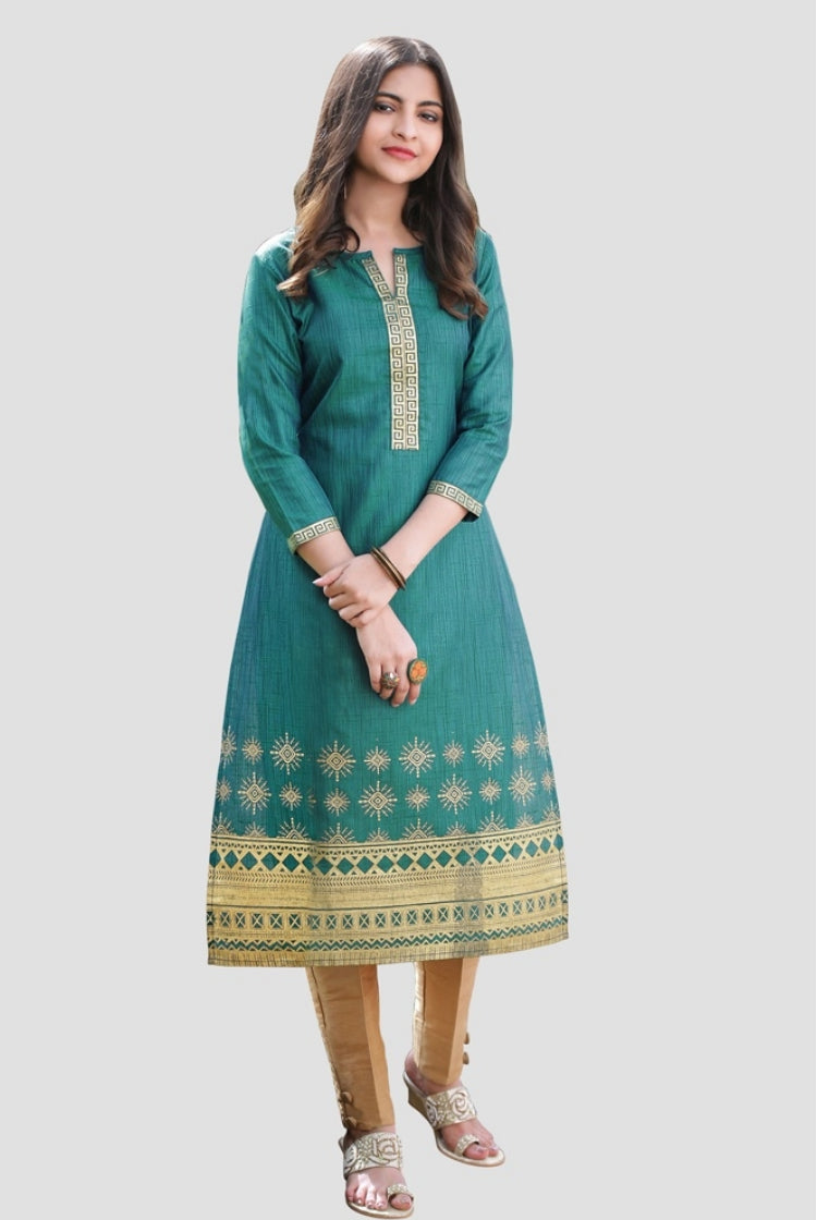 Traditional Green Print Designer Kurti