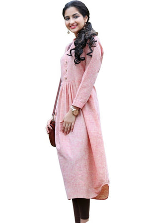 Cotton Khadi Pink Long Kurti