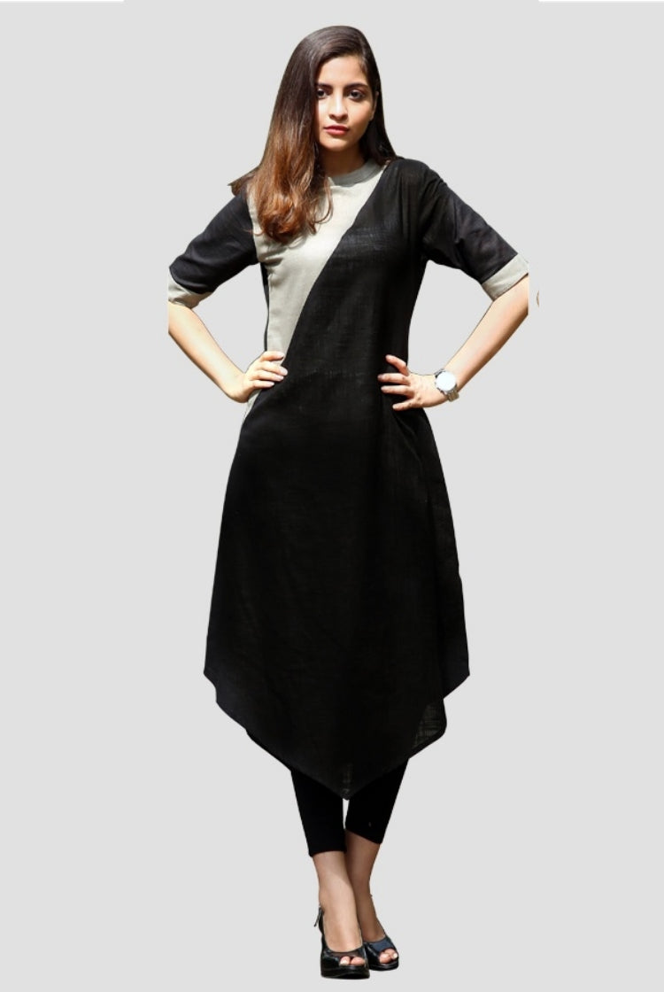 Grey Black Triangular Cut Kurti