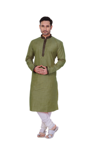 Ethniz - Men's Kurta with churidar - Olive Green