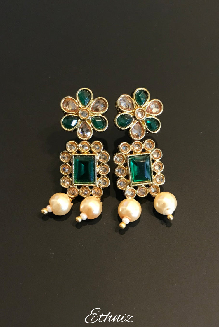 Rose White Gold stone Earring with Green stone and pearl 001