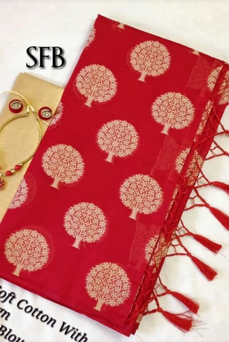 Chanderi Silk Saree - Red