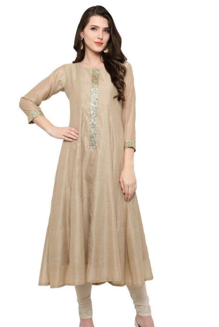 Beige Chanderi Silk Kurti with Lining