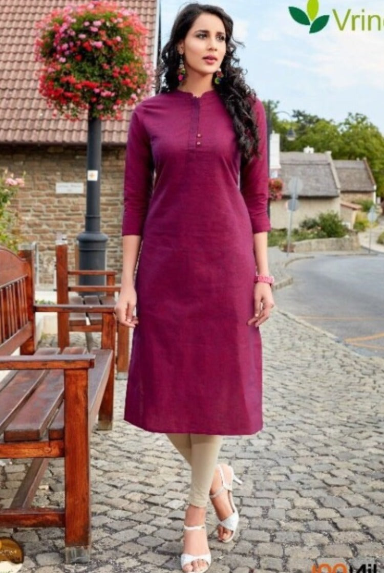 Cotton Collar Kurti - Burgandy